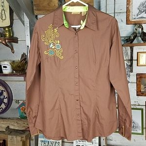 Wrangler fitted Western snap shirt
